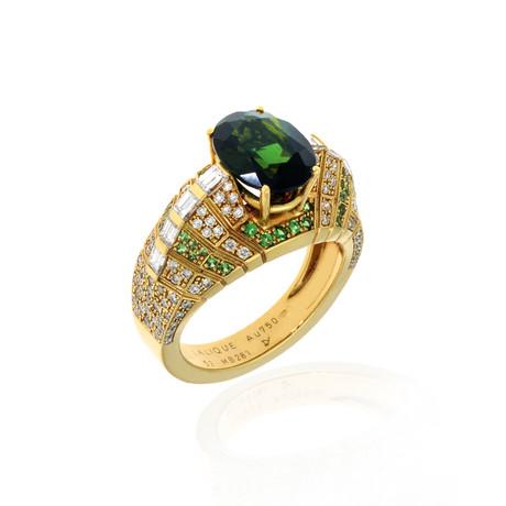Lalique Eros 18k Yellow Gold Diamond + Green Tourmaline Ring // Ring Size 6.5 // Store Display