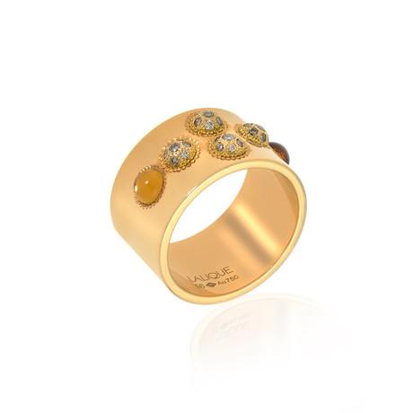 Lalique Petillante 18k Yellow Gold Diamond + Amber Ring // Ring Size 7.5 // Store Display