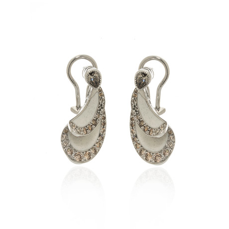 Lalique Libellule 18k White Gold Diamond Earrings // Store Display