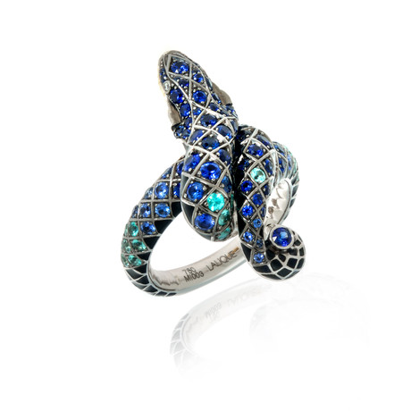 Lalique Serpent 18k White + Yellow Gold Diamond + Sapphire Ring // Ring Size 6.5 // Store Display