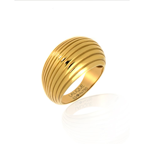 Lalique Vibrante 18k Yellow Gold Ring II // Ring Size 6.5 // Store Display
