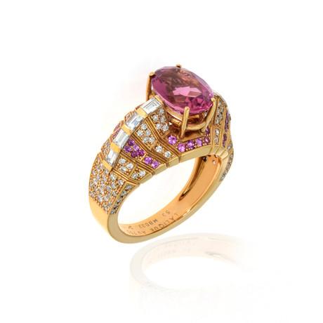 Lalique Eros 18k Rose Gold Diamond + Pink Tourmaline Ring // Ring Size 6.25 // Store Display