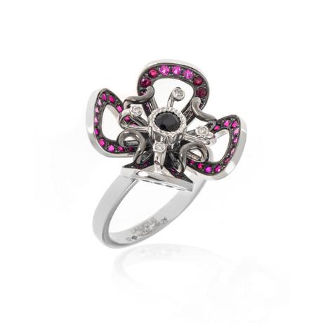 Lalique Poppy 18k White Gold Diamond + Garnet Ring // Ring Size 6 // Store Display