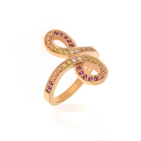 Lalique Ardente 18k Rose Gold Diamond + Sapphire Ring // Ring Size 6 // Store Display
