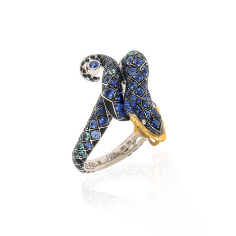Lalique Serpent 18k White + Yellow Gold Diamond + Blue Sapphire Ring // Ring Size 6 // Store Display