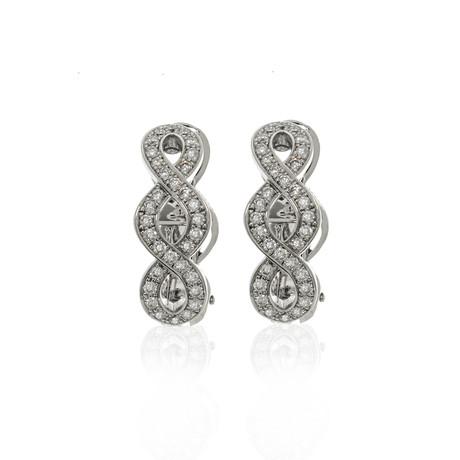 Lalique Ardente 18k White Gold Diamond Earrings // Store Display