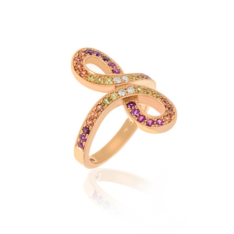 Lalique Ardente 18k Rose Gold Diamond + Sapphire Ring // Ring Size 5.5 // Store Display