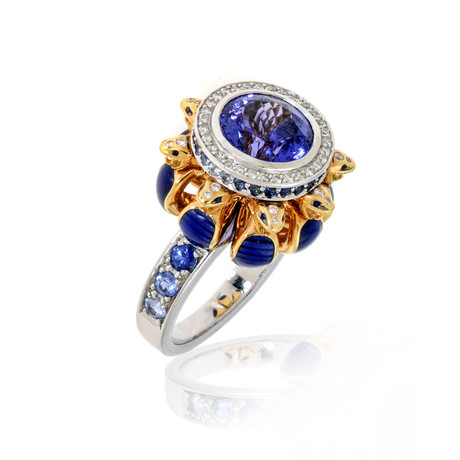 Lalique Serpent 18k White + Yellow Gold Diamond + Tanzanite Ring // Ring Size 7.5 // Store Display