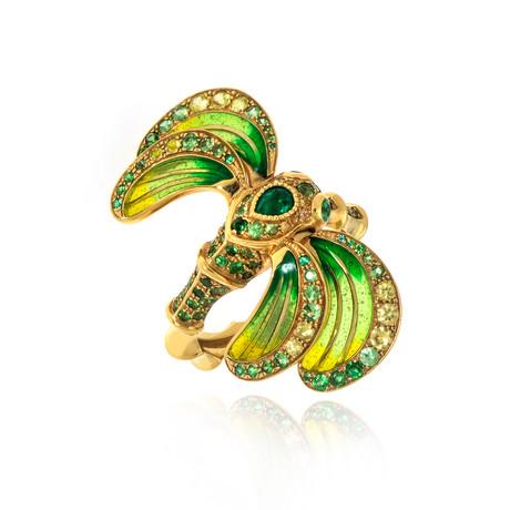 Lalique Libellule 18k Yellow Gold + Tsavorite Ring // Ring Size 7.25 // Store Display