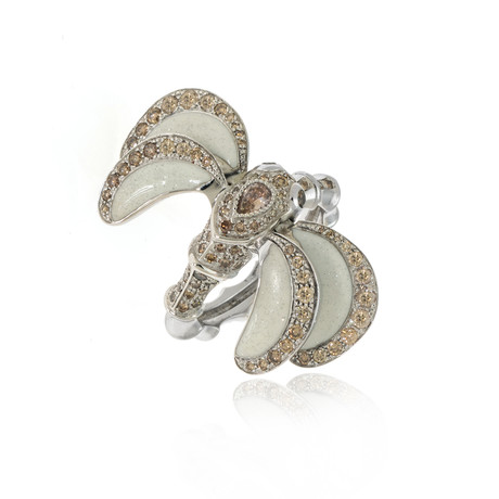 Lalique Libellule 18k White Gold Diamond Ring I // Ring Size 7.25 // Store Display