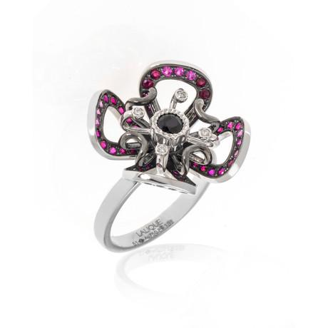 Lalique Poppy 18k White Gold Diamond + Garnet Ring // Ring Size 5.5 // Store Display