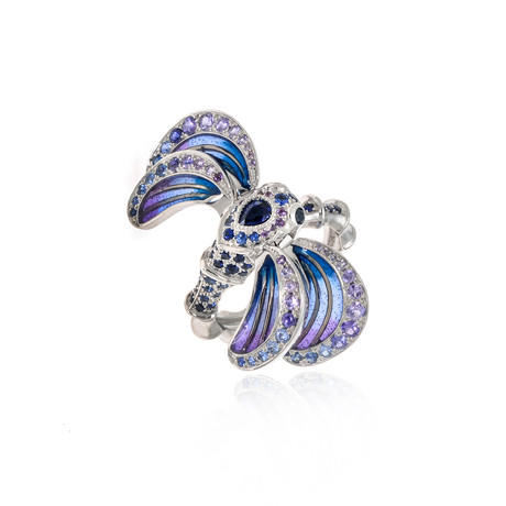 Lalique Libellule 18k White Gold + Sapphire Ring // Ring Size 6.25 // Store Display