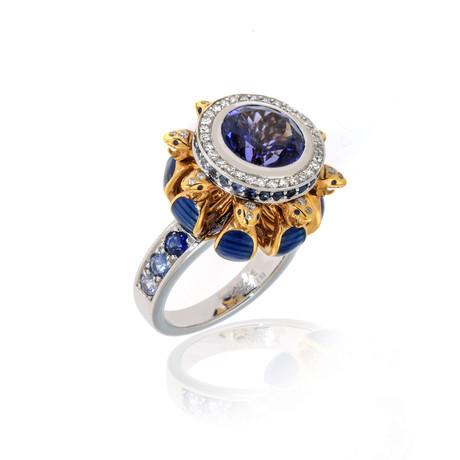 Lalique Serpent 18k White + Yellow Gold Diamond + Tanzanite Ring // Ring Size 6.5 // Store Display