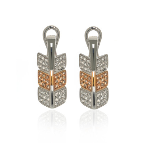 Lalique Eros 18k White Gold + 18k Rose Gold Diamond Earrings // Store Display
