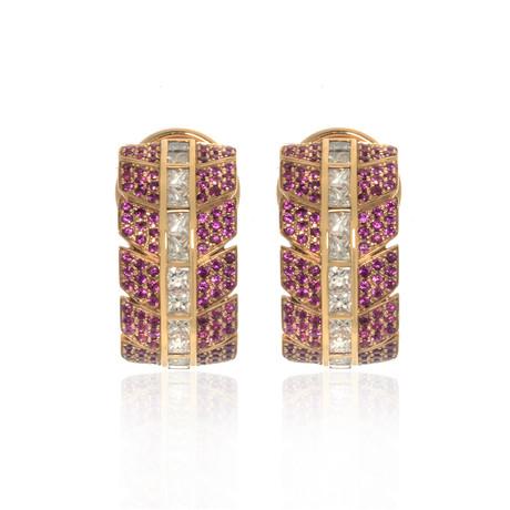 Lalique Eros 18k Rose Gold Diamond + Ruby Earrings // Store Display
