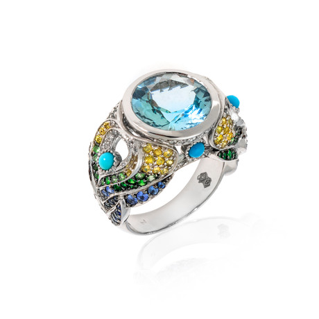 Lalique Peacock 18k White Gold Diamond + Aquamarine Ring // Rng Size 7.25 // Store Display