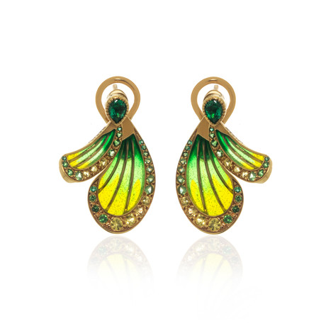 Lalique Libellule 18k Yellow Gold + Emerald Earrings // Store Display