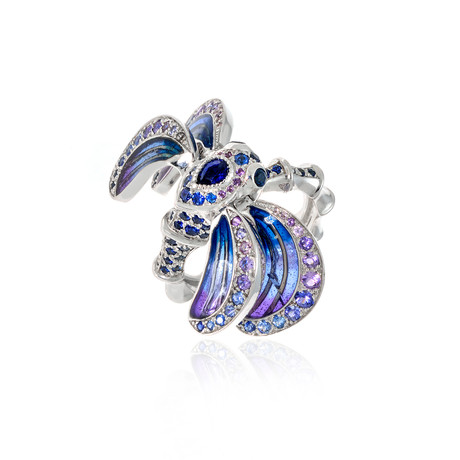 Lalique Libellule 18k White Gold + Sapphire Ring // Ring Size 6 // Store Display