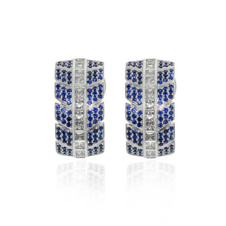 Lalique Eros 18k White Gold Diamond + Blue Sapphire Earrings // Store Display