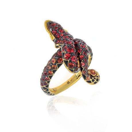 Lalique Serpent 18k Yellow Gold Diamond + Garnet Ring // Ring Size 7.75 // Store Display