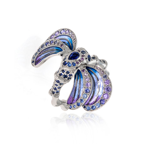 Lalique Libellule 18k White Gold + Sapphire Ring // Ring Size 7.25 // Store Display