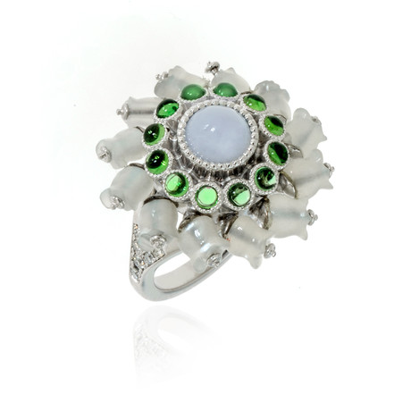 Lalique Muget Moonstone 18k White Gold Diamond + Chalcedony Ring // Ring Size 6.5 // Store Display