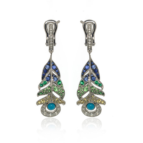 Lalique Peacock 18k White Gold Diamond + Sapphire Earrings // Store Display