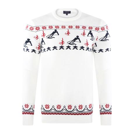 Ski Pullover // White + Navy + Red (S)