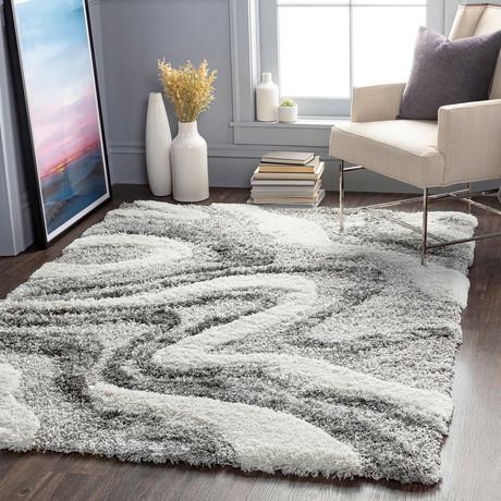 """Alta Shag // Charcoal + White + Gray (5'3"""" x 7')"""