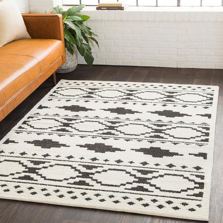 "Moroccan Shag // Black + Charcoal + White (2'7"" x 7'3"")"
