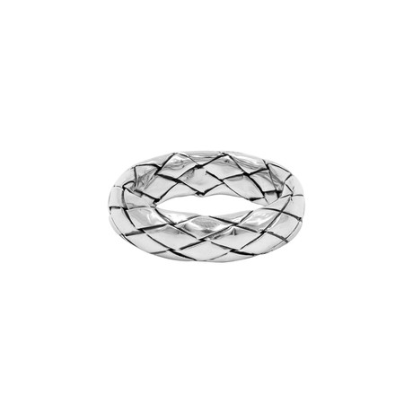 Unisex Woven Eternity Band Ring // Silver (5)