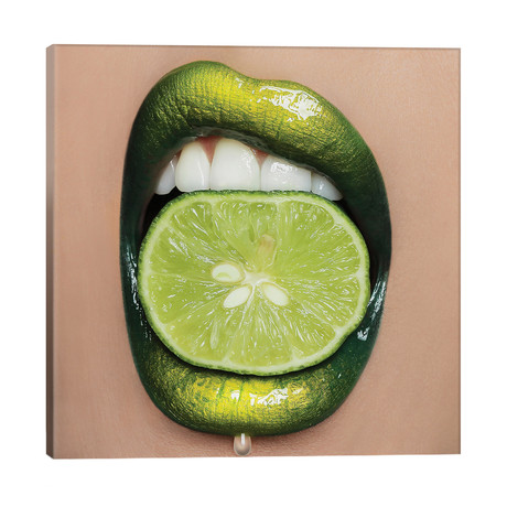 "Lime Lips // Vlada Haggerty (18""W x 18""H x 1.5""D)"