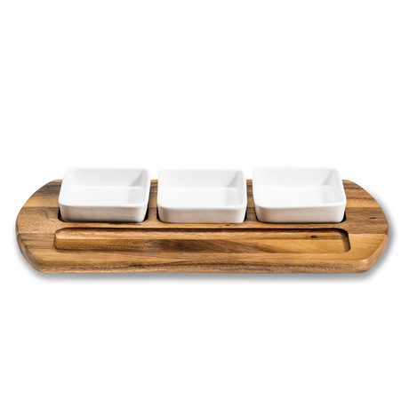 Charcuterie Serving Tray + 3 square ceramic bowls