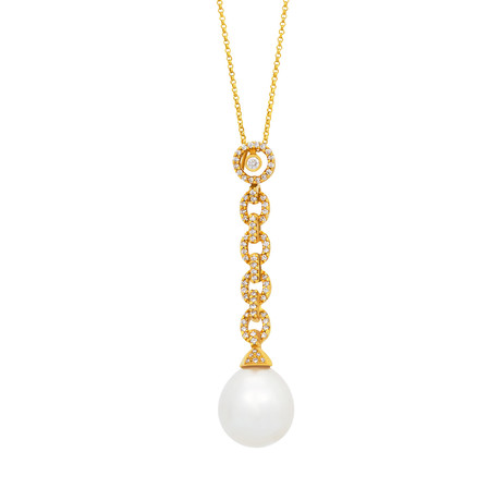 Assael 18k Yellow Gold Diamond + South Sea Pearl Necklace I // Store Display