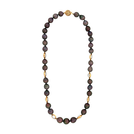 Assael 18k Yellow Gold Tahitian Pearl + Moonstone Necklace // Store Display