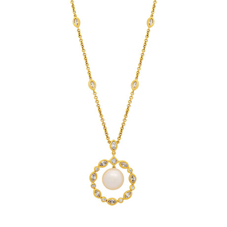 Assael 18k Yellow Gold Diamond + Pearl Necklace I // Store Display