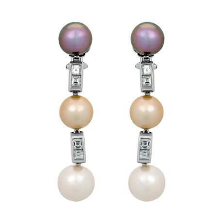 Assael 18k White Gold Diamond + Pearl Earrings I // Store Display