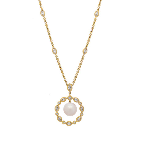 Assael 18k Yellow Gold Diamond + Pearl Necklace II // Store Display