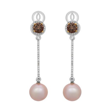Assael 18k White + 18k Yellow Gold Diamond + Pearl Earrings III // Store Display