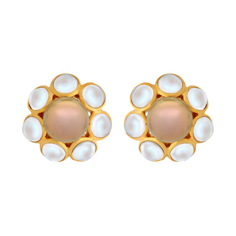 Assael 18k Yellow Gold + South Sea Pearl Earrings I // Store Display