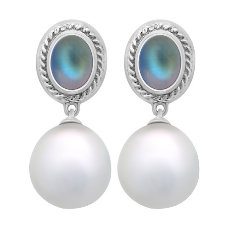 Assael 18k White Gold + South Sea Pearl Earrings II // Store Display