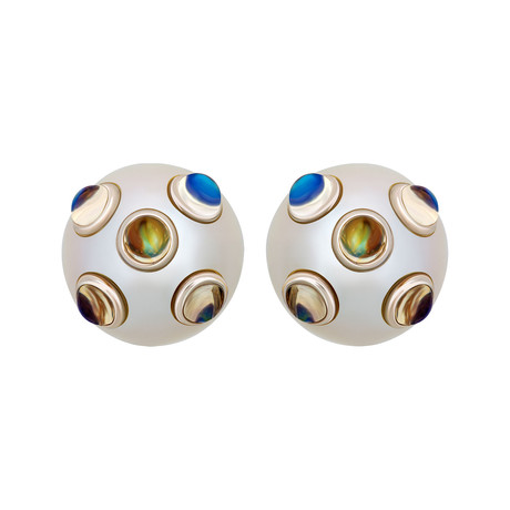 Assael 18k White Gold + South Sea Pearl Earrings I // Store Display