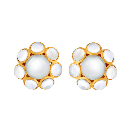 Assael 18K Yellow Gold + Pearl Earrings // Store Display