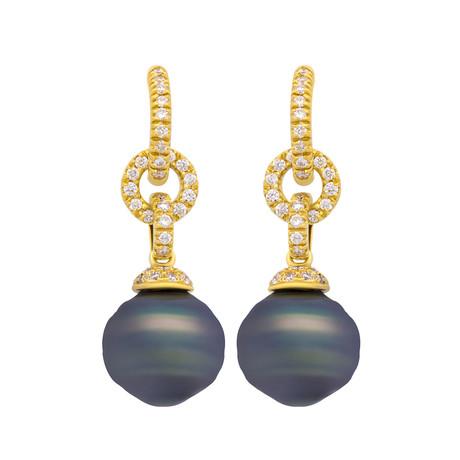 Assael 18k Yellow Gold Diamond + Tahitian Pearl Earrings II // Store Display