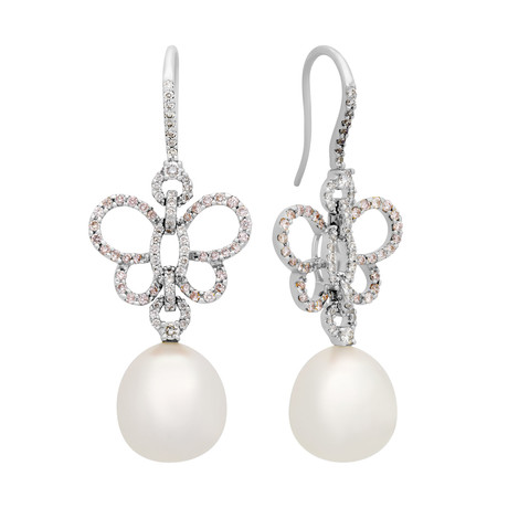 Assael 18k White Gold Diamond + South Sea Pearl Earrings VI // Store Display