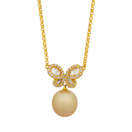 Assael 18k Yellow Gold Diamond + South Sea Pearl Necklace II // Store Display