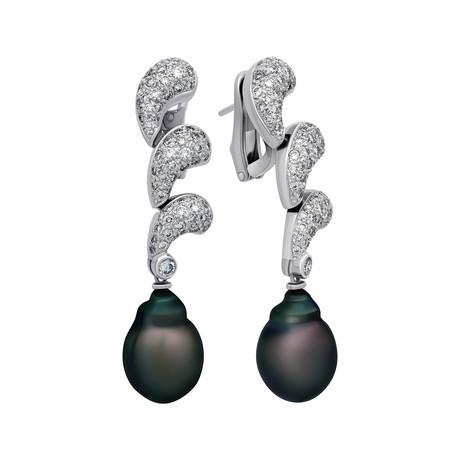 Assael 18k White Gold Diamond + Tahitian Pearl Earrings I // Store Display