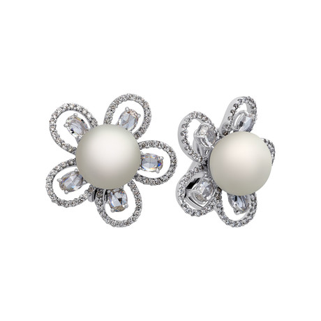 Assael 18k White Gold Diamond+ South Sea Pearl Earrings // Store Display