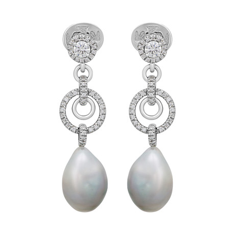 Assael 18k White Gold Diamond + South Sea Pearl Earrings IV // Store Display