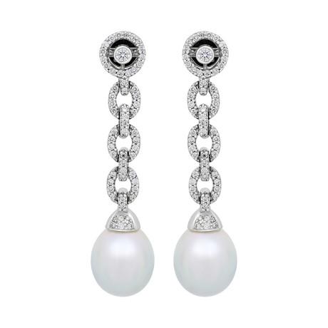 Assael 18k White Gold Diamond + South Sea Pearl Earrings II // Store Display